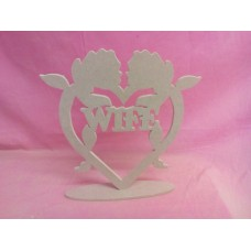 6mm MDF Standing Rose heart with Wife
